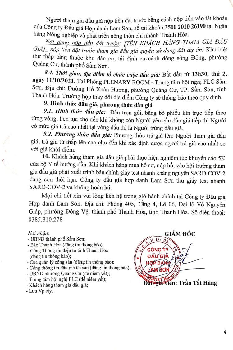 Ngày 11/10/2021, đấu giá quyền sử dụng đất tại thành phố Sầm Sơn, tỉnh Thanh Hóa ảnh 6