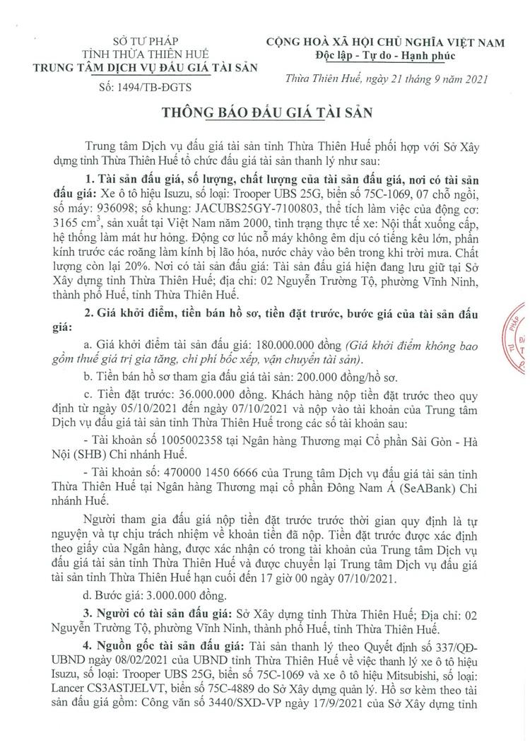 Ngày 8/10/2021, đấu giá xe ô tô Isuzu tại tỉnh Thừa Thiên Huế ảnh 2