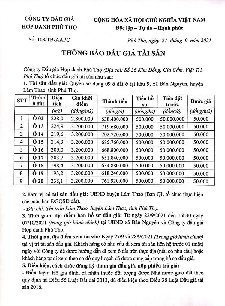 Ngày 10/10/2021, đấu giá quyền sử dụng 9 ô đất tại huyện Lâm Thao, tỉnh Phú Thọ ảnh 2
