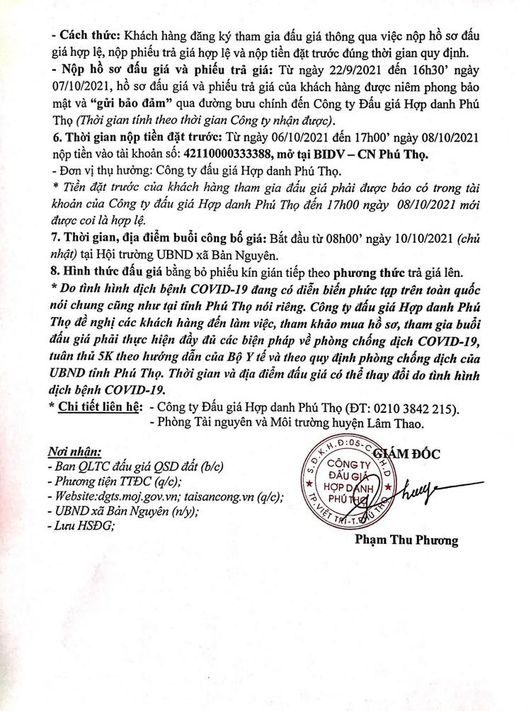 Ngày 10/10/2021, đấu giá quyền sử dụng 9 ô đất tại huyện Lâm Thao, tỉnh Phú Thọ ảnh 3