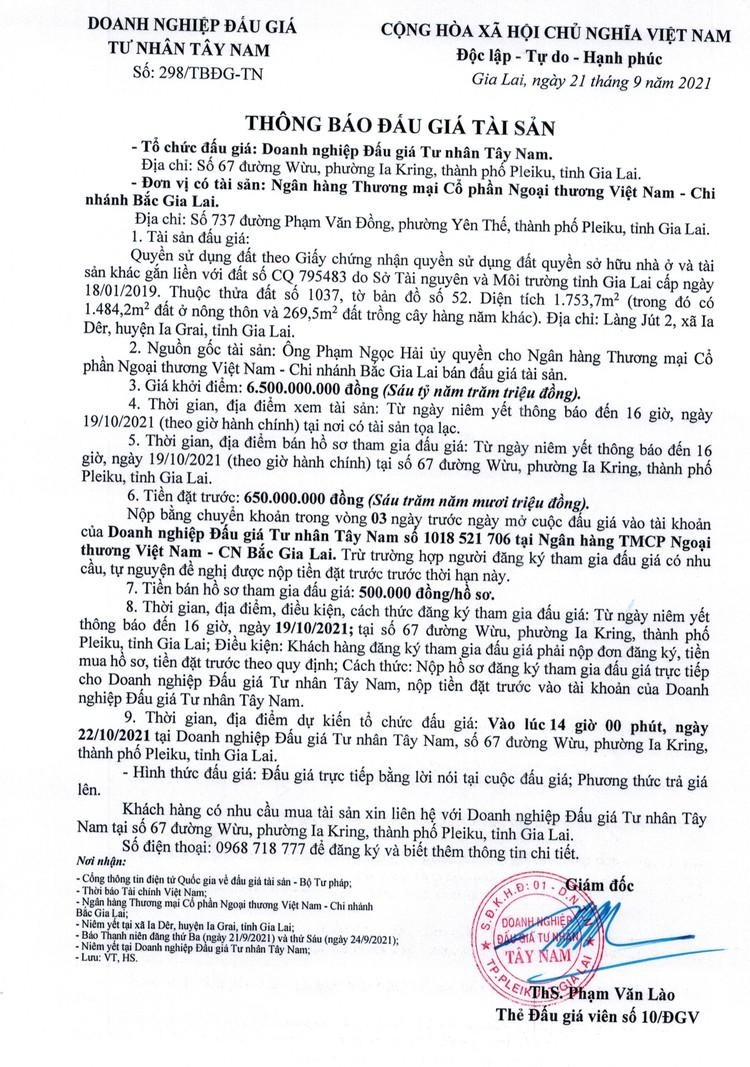 Ngày 22/10/2021, đấu giá quyền sử dụng đất tại huyện Ia Grai, tỉnh Gia Lai ảnh 2