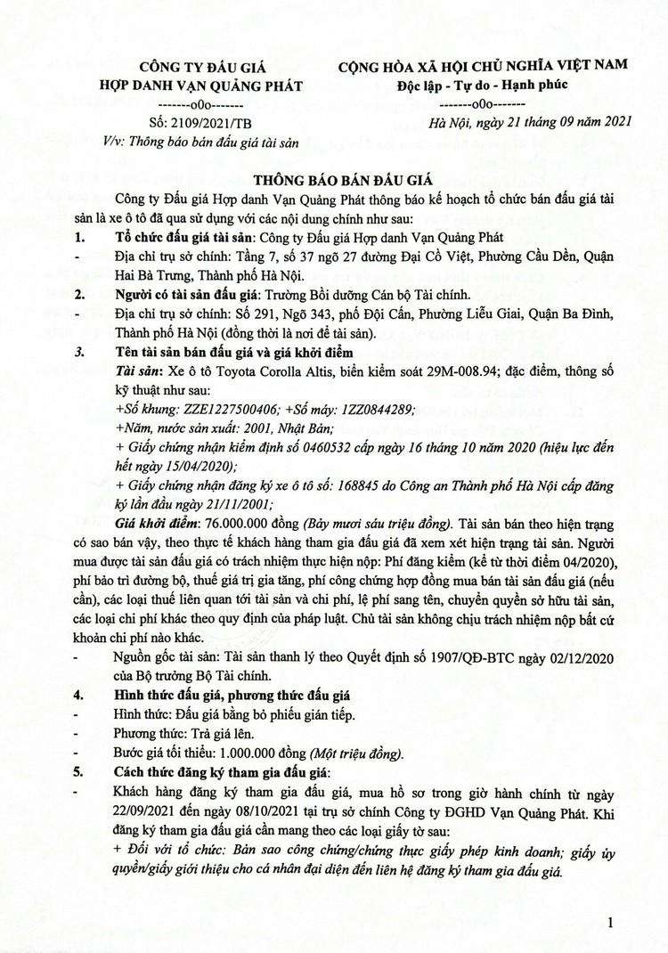 Ngày 11/10/2021, đấu giá xe ô tô Toyota Corolla Altis tại Hà Nội ảnh 2