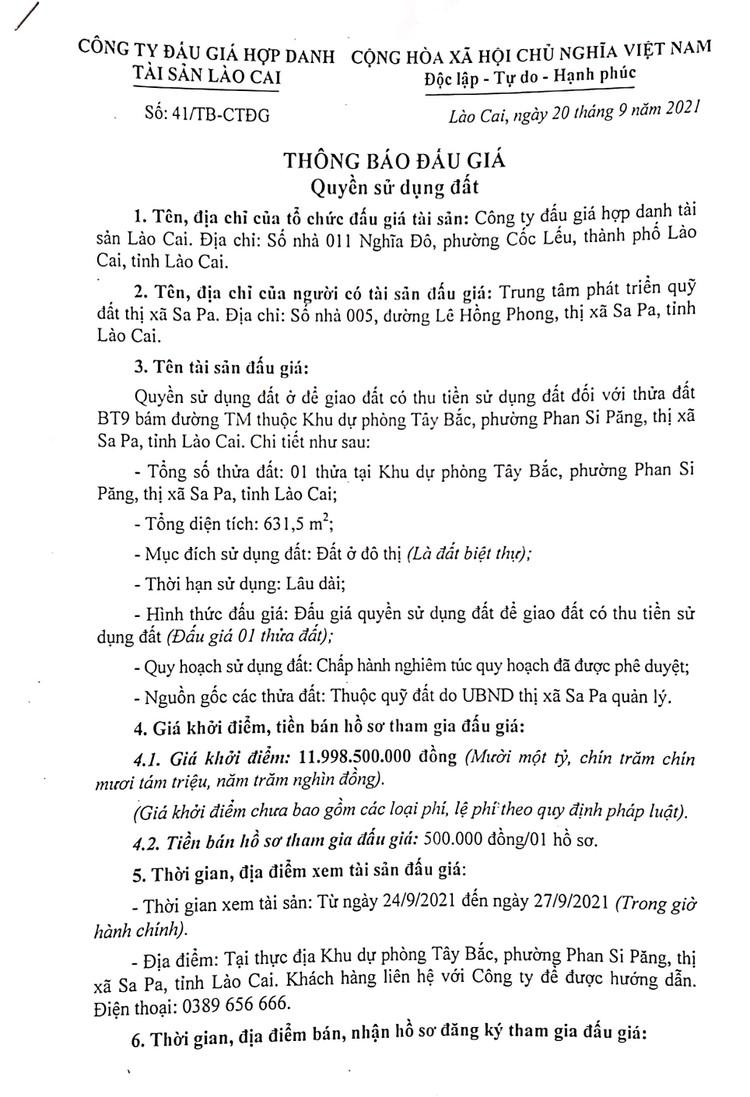 Ngày 8/10/2021, đấu giá quyền sử dụng 631,5 m2 đất tại thị xã Sa Pa, tỉnh Lào Cai ảnh 3