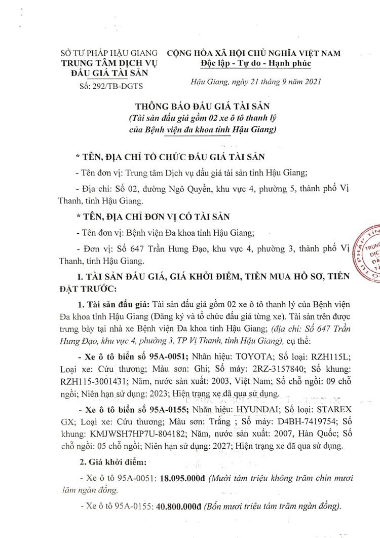 Ngày 7/10/2021, đấu giá 2 ô tô thanh lý tại tỉnh Hậu Giang ảnh 2