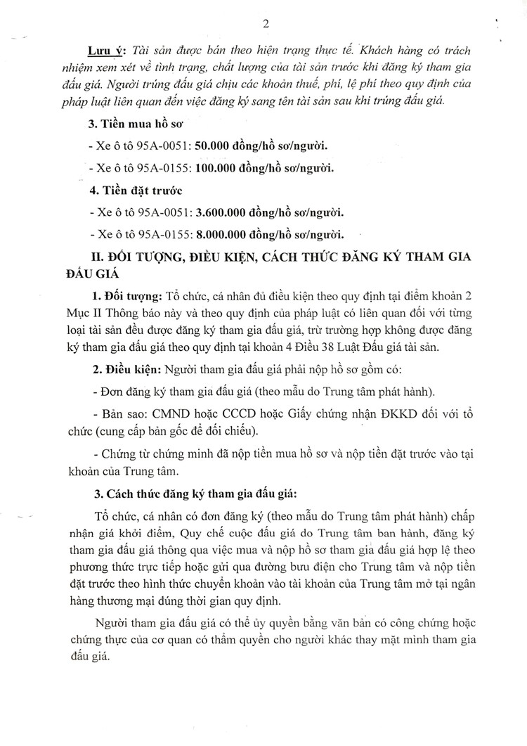Ngày 7/10/2021, đấu giá 2 ô tô thanh lý tại tỉnh Hậu Giang ảnh 3