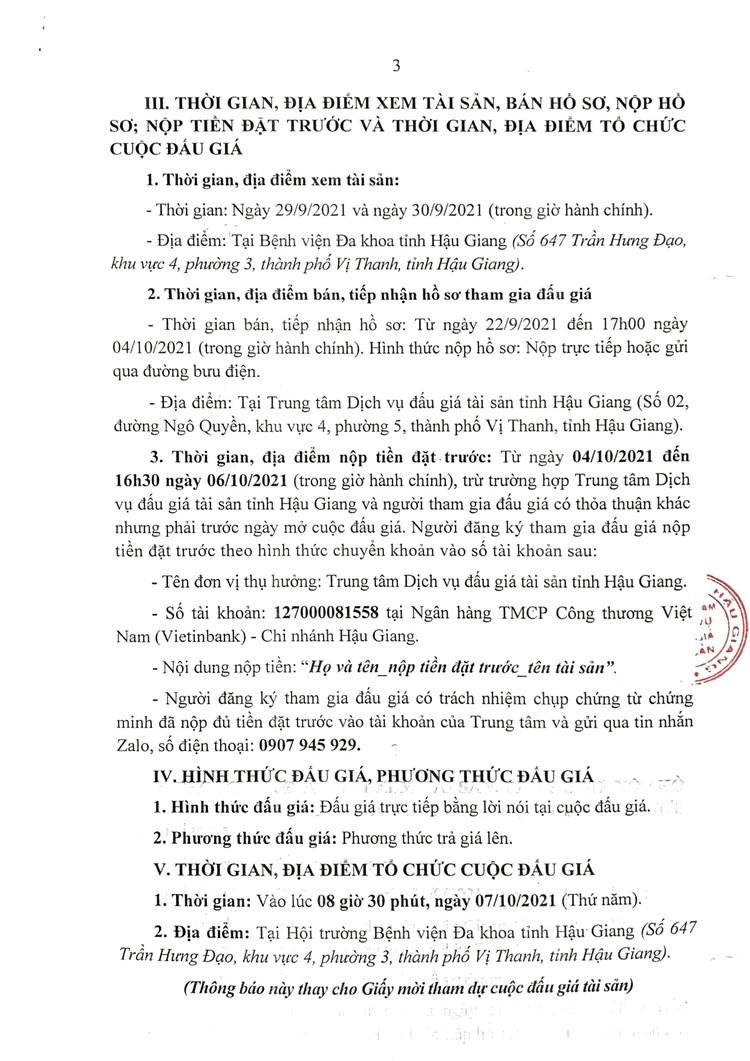 Ngày 7/10/2021, đấu giá 2 ô tô thanh lý tại tỉnh Hậu Giang ảnh 4