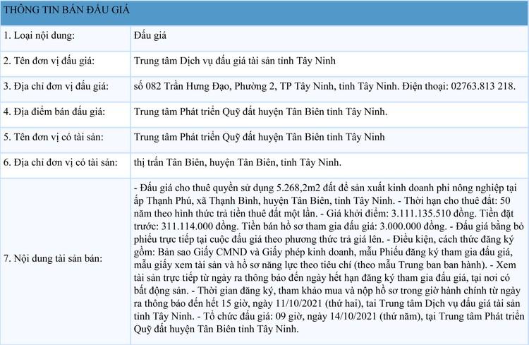 Ngày 14/10/2021, đấu giá quyền sử dụng 5.268,2m2 đất thuê tại huyện Tân Biên, tỉnh Tây Ninh ảnh 1