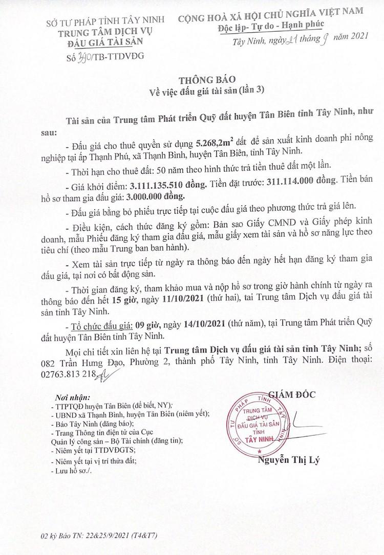 Ngày 14/10/2021, đấu giá quyền sử dụng 5.268,2m2 đất thuê tại huyện Tân Biên, tỉnh Tây Ninh ảnh 3
