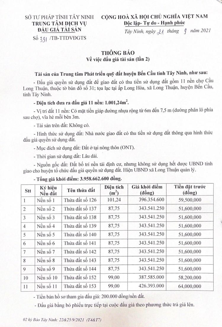Ngày 15/10/2021, đấu giá quyền sử dụng 11 nền đất tại huyện Bến Cầu, tỉnh Tây Ninh ảnh 3