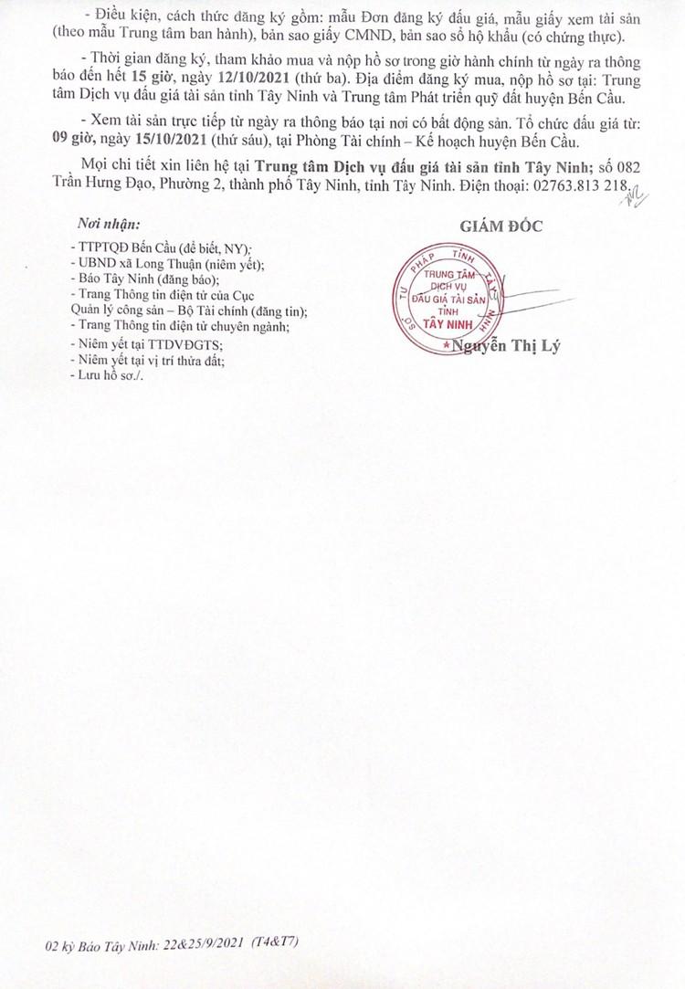 Ngày 15/10/2021, đấu giá quyền sử dụng 11 nền đất tại huyện Bến Cầu, tỉnh Tây Ninh ảnh 4