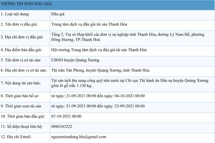 Ngày 7/10/2021, đấu giá lô gỗ trắc 1.130 kg tại tỉnh Thanh Hóa ảnh 1