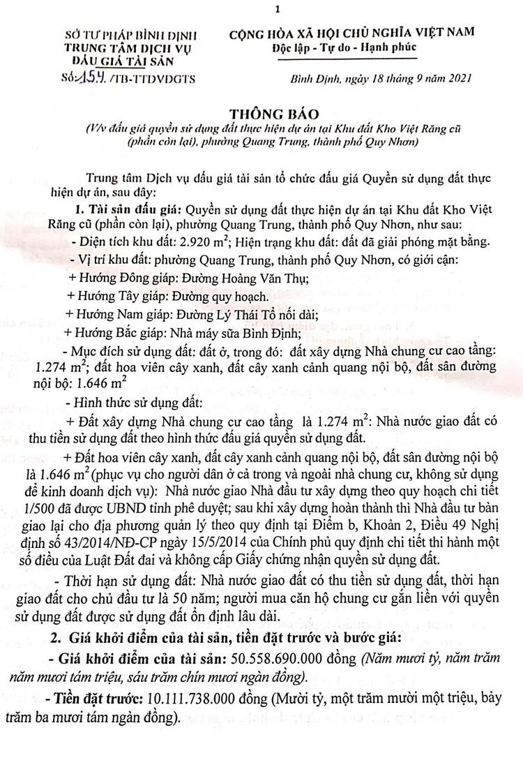 Ngày 23/10/2021, đấu giá quyền sử dụng 2.920 m2 đất tại thành phố Quy Nhơn, tỉnh Bình Định ảnh 2