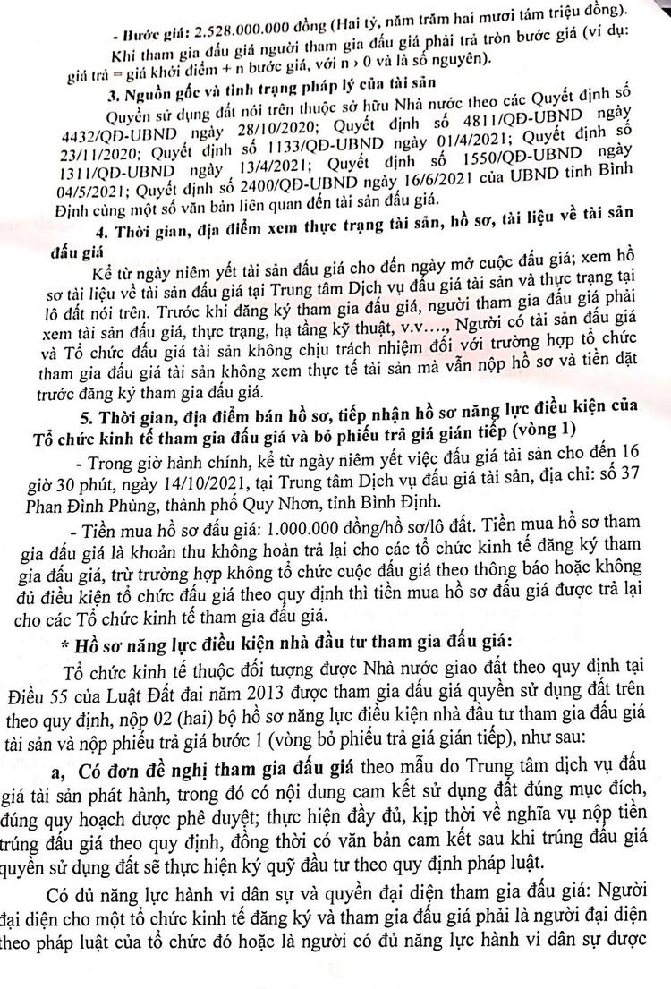 Ngày 23/10/2021, đấu giá quyền sử dụng 2.920 m2 đất tại thành phố Quy Nhơn, tỉnh Bình Định ảnh 3