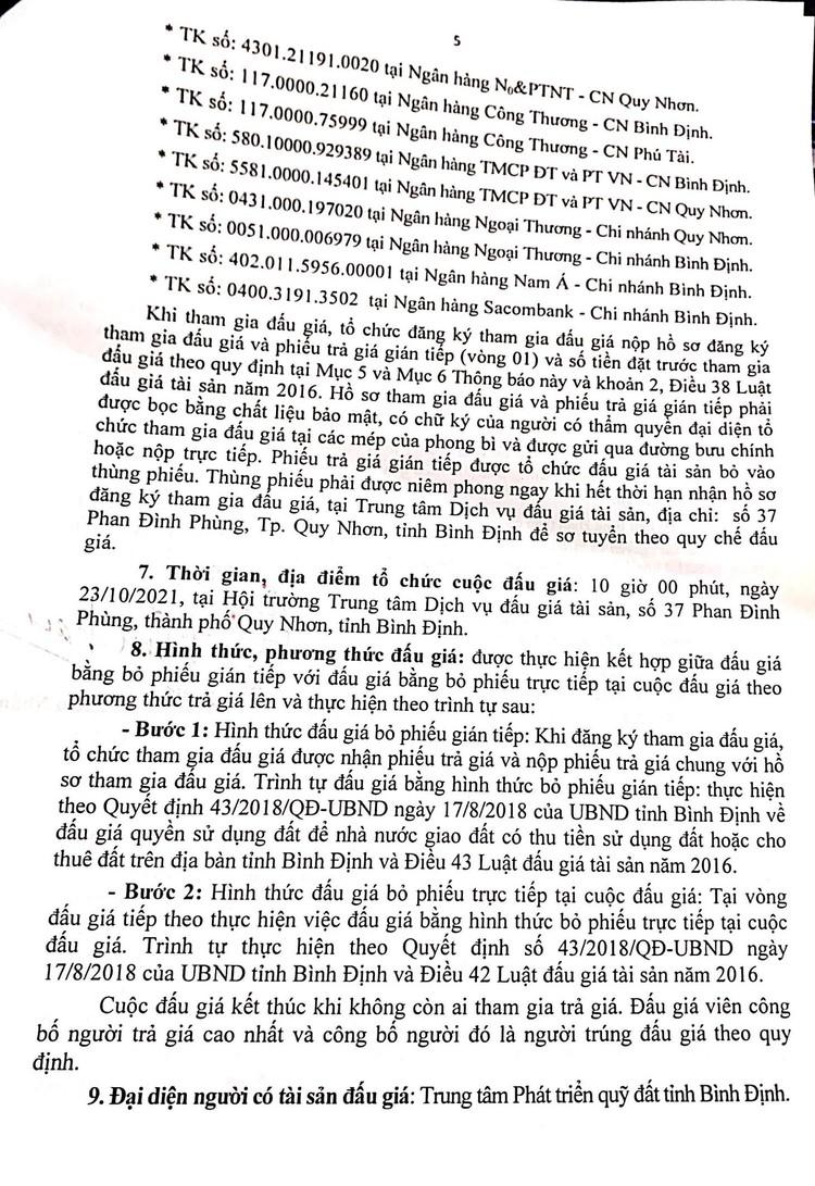Ngày 23/10/2021, đấu giá quyền sử dụng 2.920 m2 đất tại thành phố Quy Nhơn, tỉnh Bình Định ảnh 6