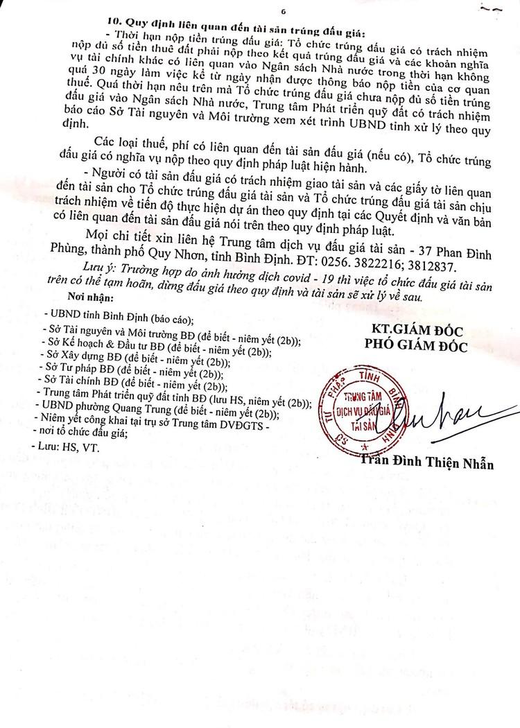Ngày 23/10/2021, đấu giá quyền sử dụng 2.920 m2 đất tại thành phố Quy Nhơn, tỉnh Bình Định ảnh 7
