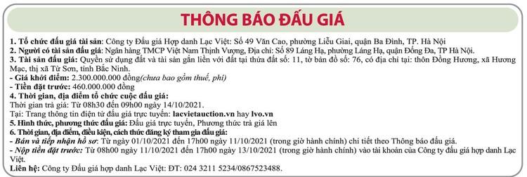 Ngày 14/10/2021, đấu giá quyền sử dụng đất tại thị xã Từ Sơn, tỉnh Bắc Ninh ảnh 1