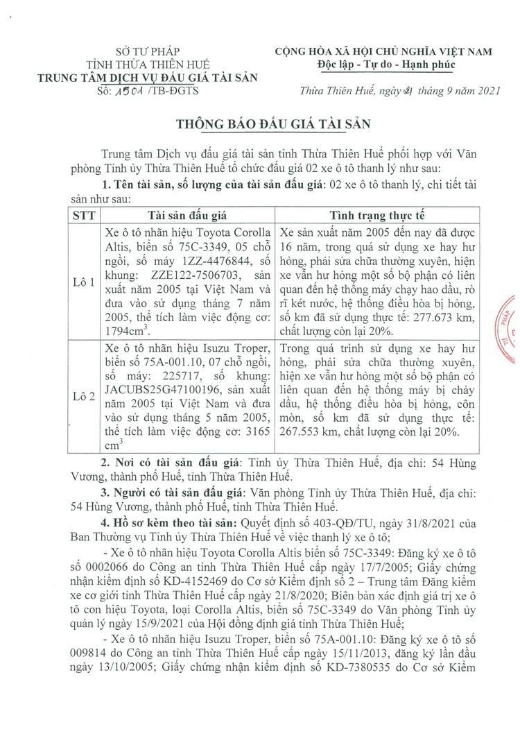 Ngày 8/10/2021, đấu giá 2 xe ô tô tại tỉnh Thừa Thiên Huế ảnh 2