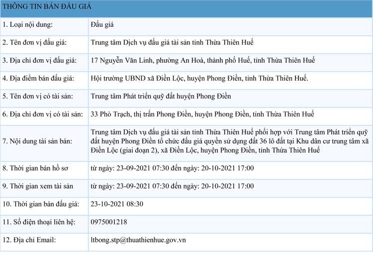 Ngày 23/10/2021, đấu giá quyền sử dụng 36 lô đất tại huyện Phong Điền, tỉnh Thừa Thiên Huế ảnh 1