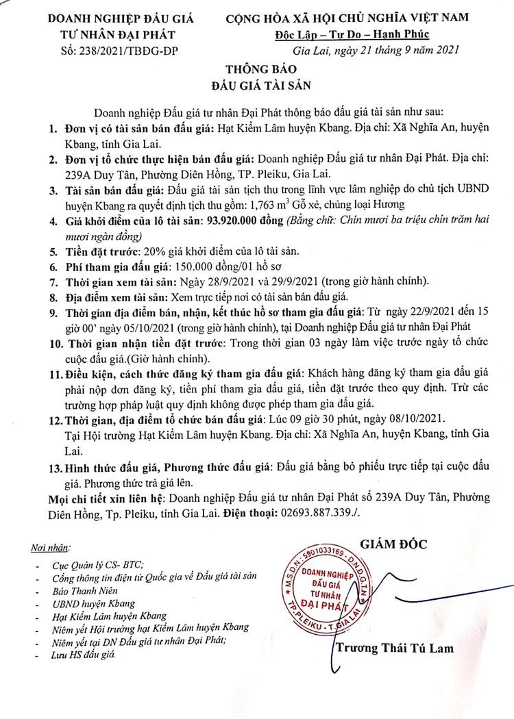 Ngày 8/10/2021, đấu giá 1,763 m3 gỗ xẻ, chủng loại Hương tại tỉnh Gia Lai ảnh 2