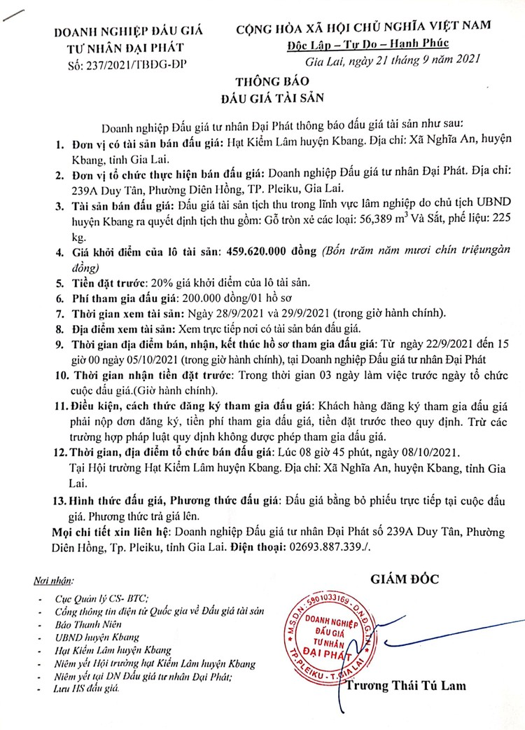 Ngày 8/10/2021, đấu giá gỗ tròn xẻ các loại và sắt, phế liệu tại tỉnh Gia Lai ảnh 2