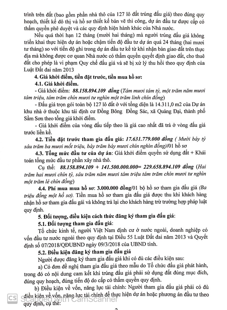 Ngày 10/10/2021, đấu giá quyền sử dụng 14.311,0 m2 đất tại thành phố Sầm Sơn, tỉnh Thanh Hóa ảnh 3
