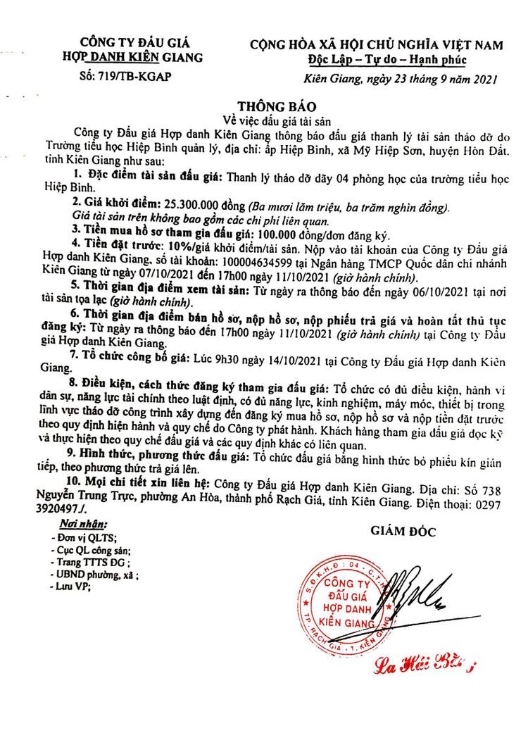 Ngày 14/10/2021, đấu giá thanh lý tháo dỡ 4 phòng học tại tỉnh Kiên Giang ảnh 2