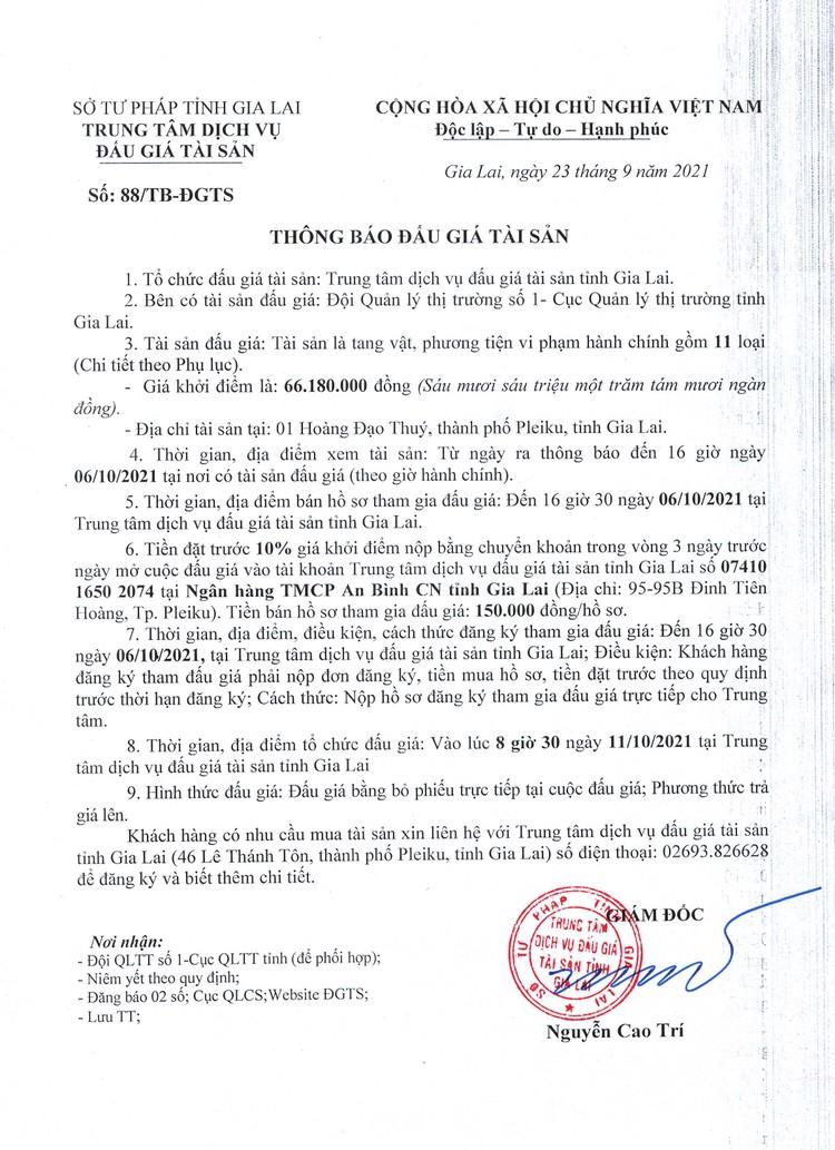 Ngày 11/10/2021, đấu giá tang vật vi phạm hành chính tại tỉnh Gia Lai ảnh 2