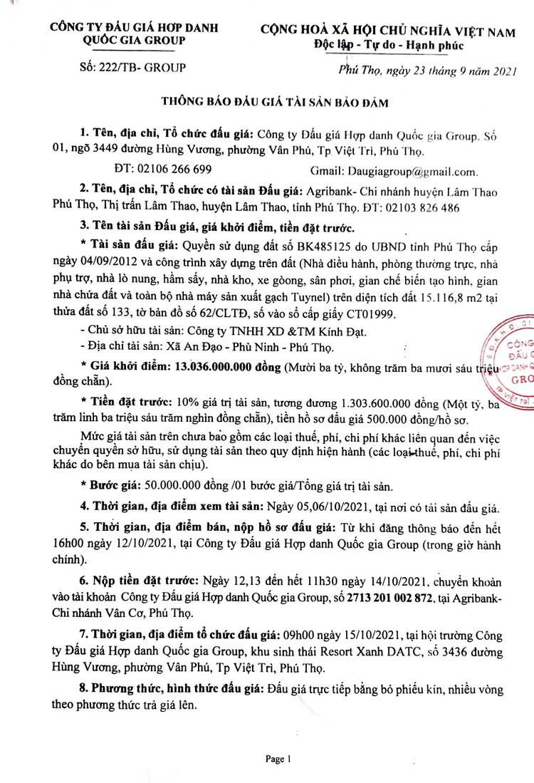 Ngày 15/10/2021, đấu giá quyền sử dụng đất tại huyện Phù Ninh, tỉnh Phú Thọ ảnh 2