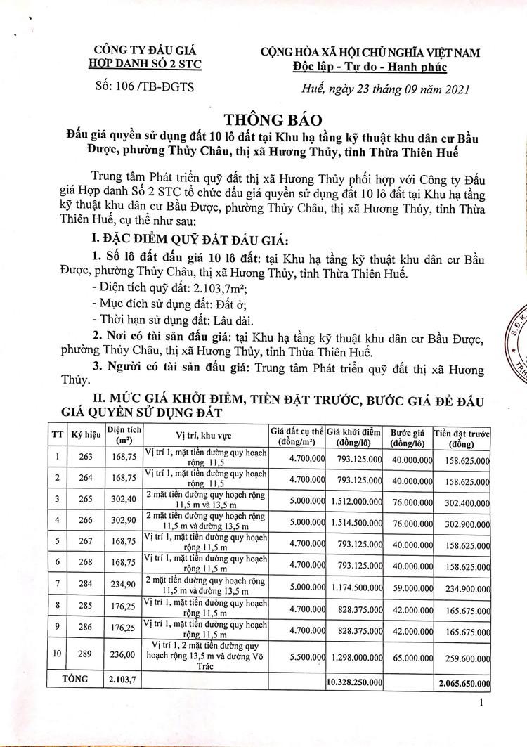 Ngày 16/10/2021, đấu giá quyền sử dụng 10 lô đất tại thị xã Hương Thủy, tỉnh Thừa Thiên Huế ảnh 2