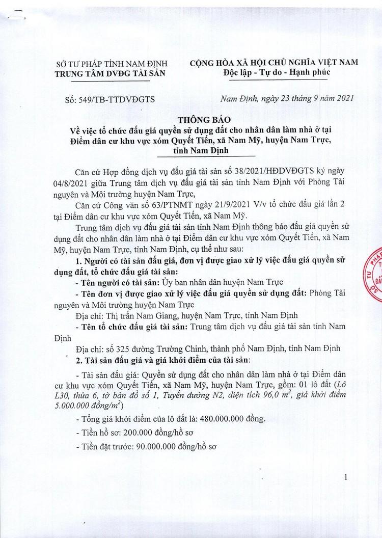 Ngày 15/10/2021, đấu giá quyền sử dụng đất tại huyện Nam Trực, tỉnh Nam Định ảnh 2