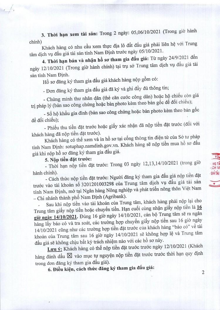 Ngày 15/10/2021, đấu giá quyền sử dụng đất tại huyện Nam Trực, tỉnh Nam Định ảnh 3