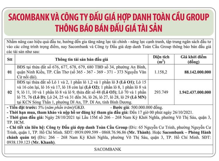 Ngày 28/10/2021, đấu giá quyền sử dụng đất tại thành phố Dĩ An, tỉnh Bình Dương và quận Ninh Kiều, TP.Cần Thơ ảnh 1