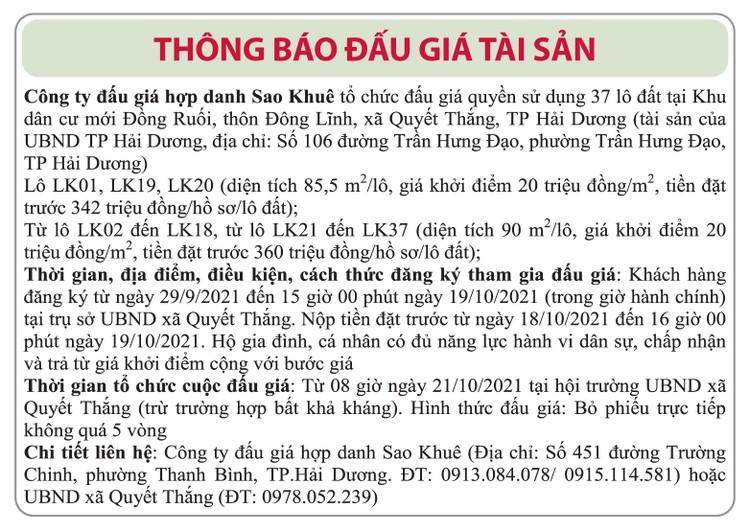 Ngày 21/10/2021, đấu giá quyền sử dụng đất tại thành phố Hải Dương, tỉnh Hải Dương ảnh 1