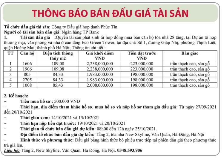 Ngày 25/10/2021, đấu giá quyền phát sinh mua căn hộ tại quận Hoàng Mai, Hà Nội ảnh 1