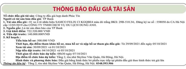 Ngày 7/10/2021, đấu giá xe ô tô Samco tại Hà Nội ảnh 1
