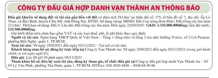 Ngày 05/11/2021, đấu giá quyền sử dụng đất tại huyện Cẩm Mỹ, tỉnh Đồng Nai ảnh 1