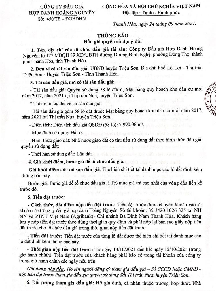 Ngày 16/10/2021, đấu giá quyền sử dụng 58 lô đất tại huyện Triệu Sơn, tỉnh Thanh Hóa ảnh 2