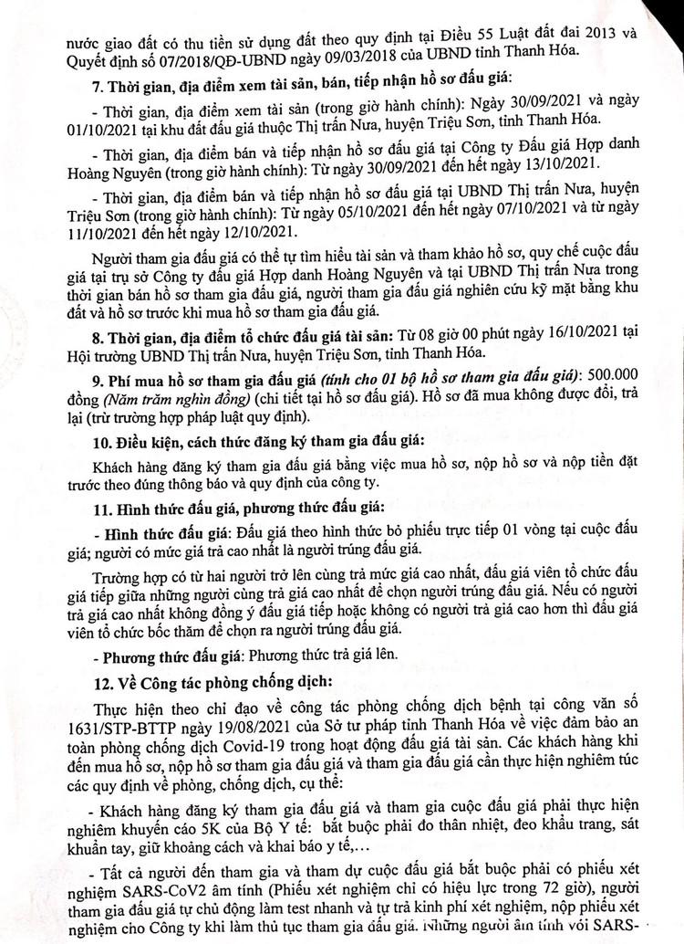 Ngày 16/10/2021, đấu giá quyền sử dụng 58 lô đất tại huyện Triệu Sơn, tỉnh Thanh Hóa ảnh 3