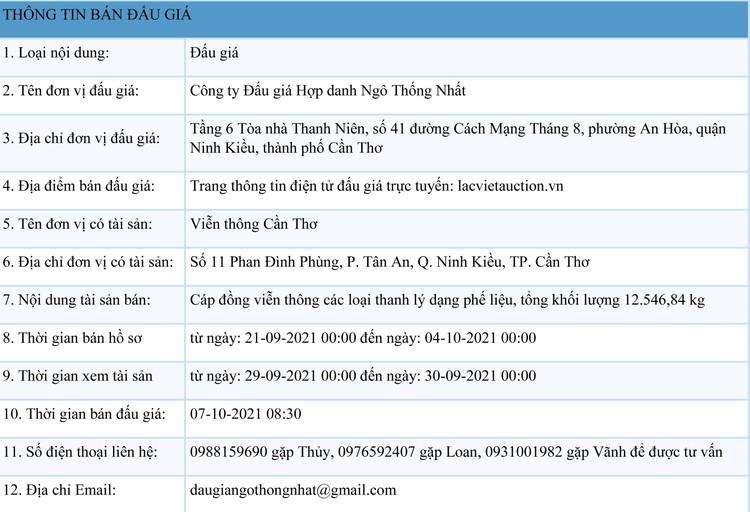 Ngày 7/10/2021, đấu giá 12.546,84 kg cáp đồng viễn thông các loại tại thành phố Cần Thơ ảnh 1