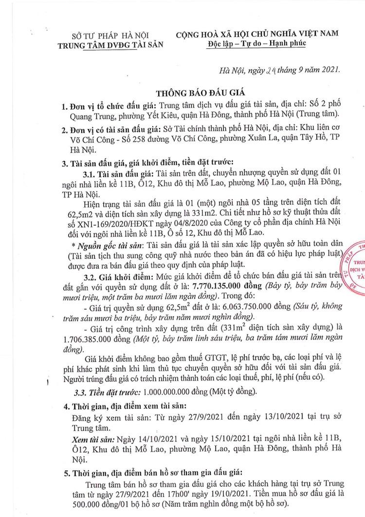 Ngày 22/10/2021, đấu giá quyền sử dụng đất tại quận Hà Đông, TP Hà Nội ảnh 2