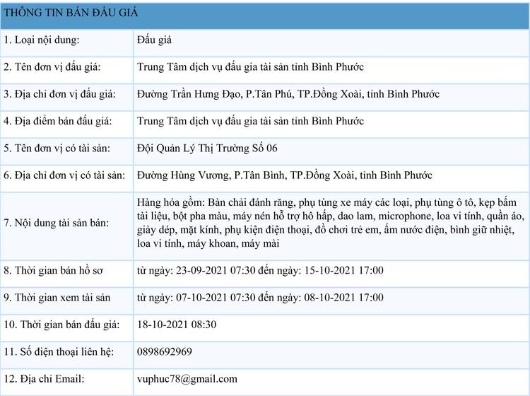 Ngày 18/10/2021, đấu giá hàng hóa tịch thu tại tỉnh Bình Phước ảnh 1