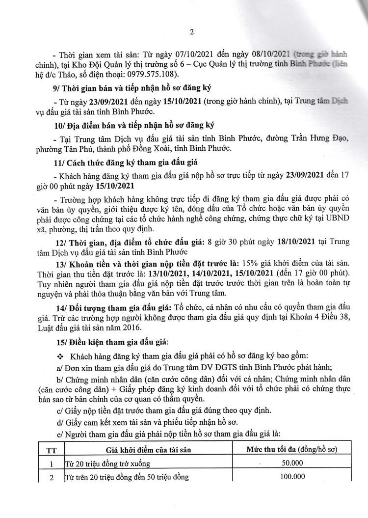 Ngày 18/10/2021, đấu giá hàng hóa tịch thu tại tỉnh Bình Phước ảnh 3