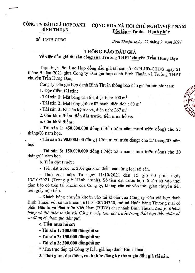 Ngày 14/10/2021, đấu giá mặt bằng căng tin, mặt bằng giữ xe và nhà ăn ký túc xá tại Trường THPT chuyên Trần Hưng Đạo, tỉnh Bình Thuận ảnh 2