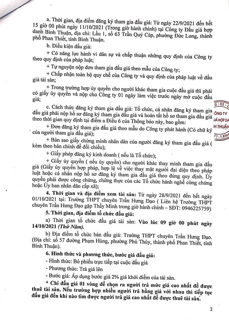 Ngày 14/10/2021, đấu giá mặt bằng căng tin, mặt bằng giữ xe và nhà ăn ký túc xá tại Trường THPT chuyên Trần Hưng Đạo, tỉnh Bình Thuận ảnh 3
