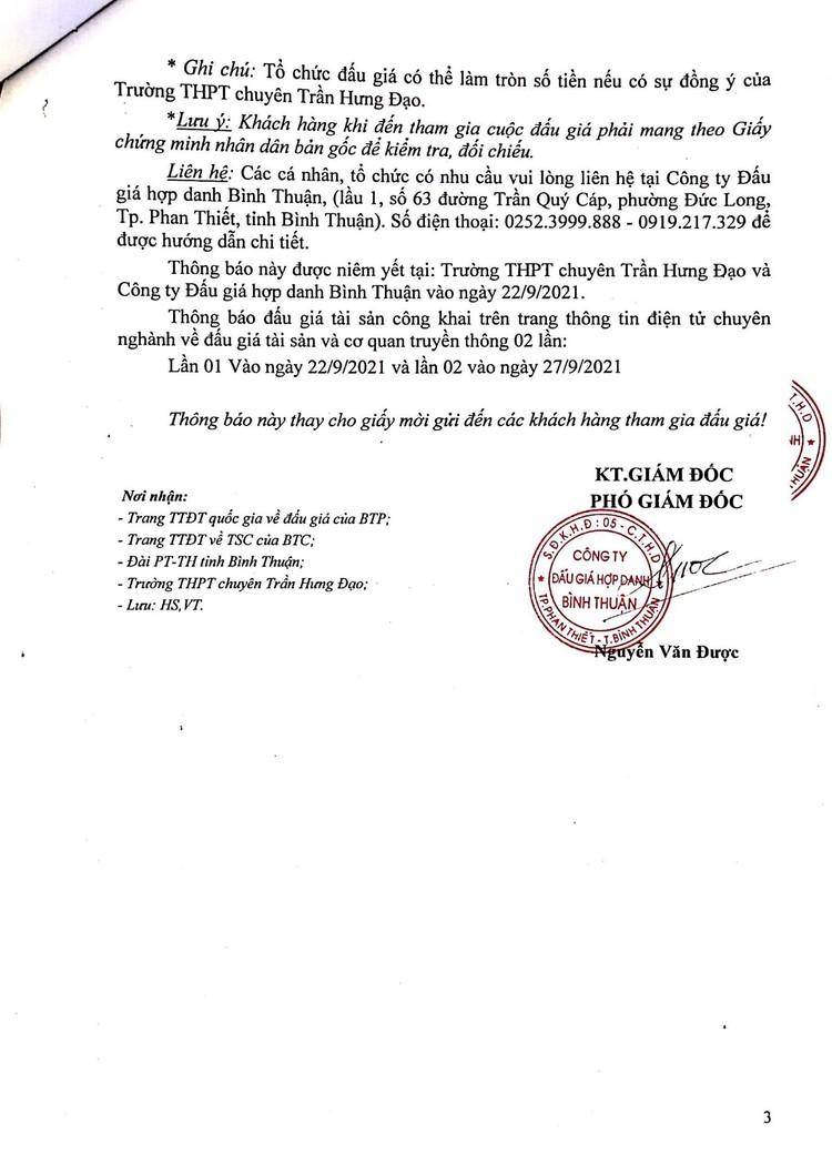 Ngày 14/10/2021, đấu giá mặt bằng căng tin, mặt bằng giữ xe và nhà ăn ký túc xá tại Trường THPT chuyên Trần Hưng Đạo, tỉnh Bình Thuận ảnh 4
