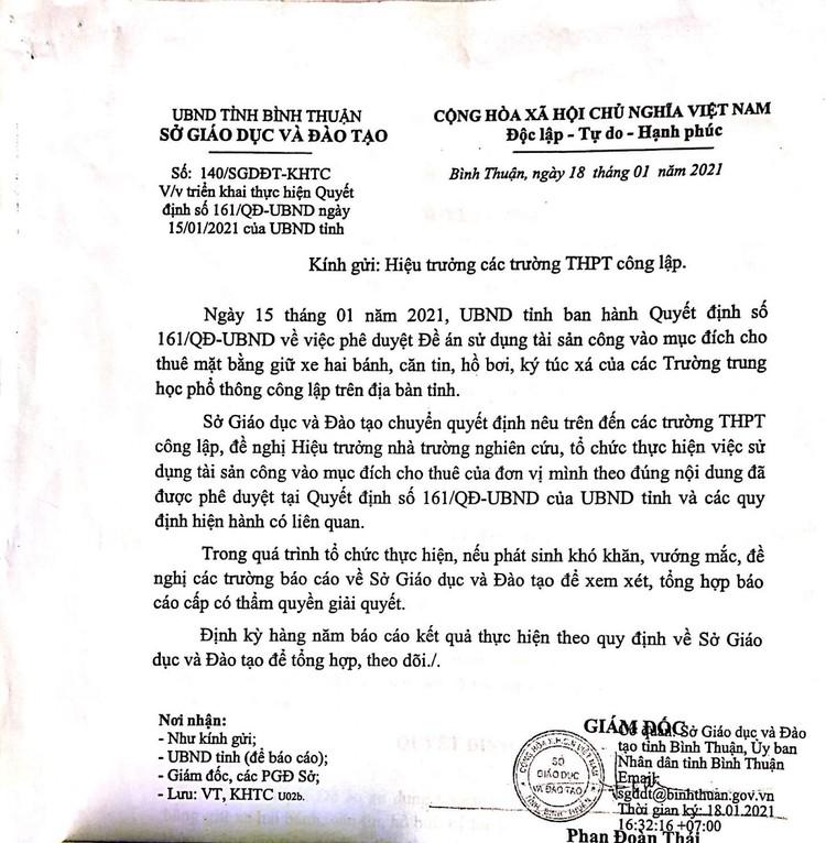 Ngày 14/10/2021, đấu giá mặt bằng căng tin, mặt bằng giữ xe và nhà ăn ký túc xá tại Trường THPT chuyên Trần Hưng Đạo, tỉnh Bình Thuận ảnh 7