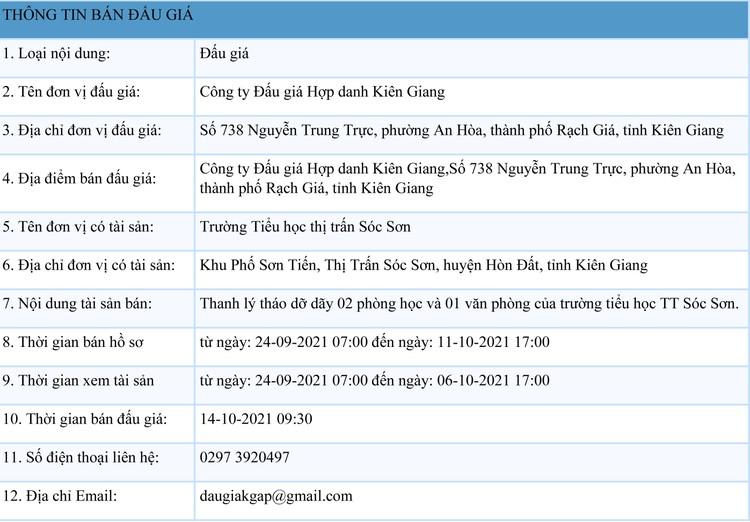 Ngày 14/10/2021, đấu giá tháo dỡ từ 2 phòng học và 1 văn phòng tại Hà Nội ảnh 1