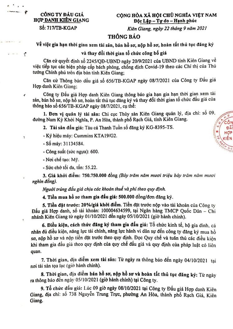 Ngày 8/10/2021, đấu giá tàu cá Thanh Tuần tại tỉnh Kiên Giang ảnh 2