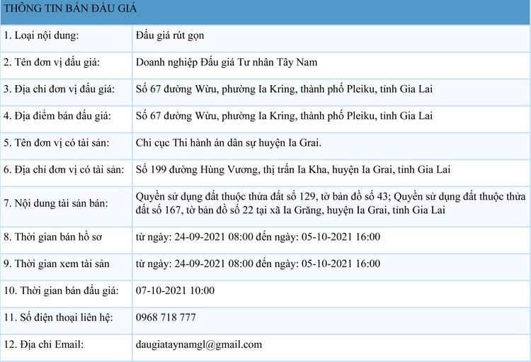 Ngày 7/10/2021, đấu giá quyền sử dụng 2 thửa đất tại huyện Ia Grai, tỉnh Gia Lai ảnh 1