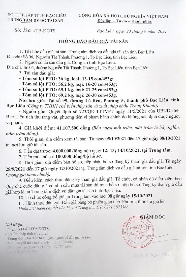 Ngày 15/10/2021, đấu giá 230,5 kg tôm sú lột PTO tại tỉnh Bạc Liêu ảnh 2